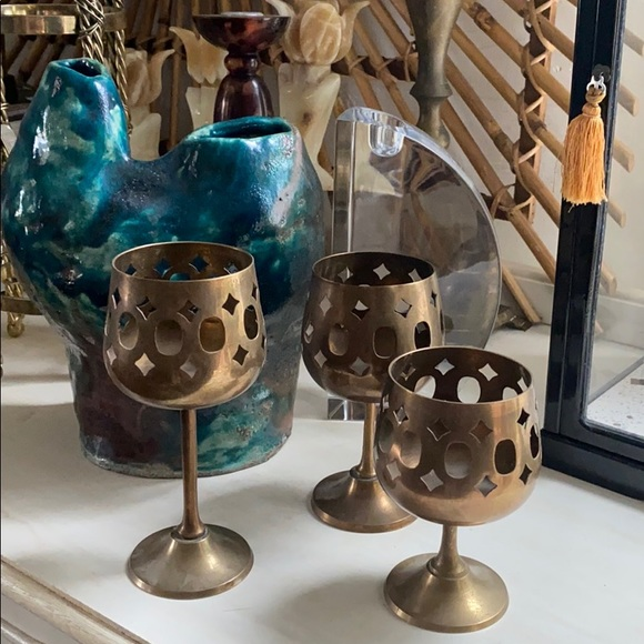 MIDCENTURY BRASS GOBLET CANDLE HOLDERS (3)